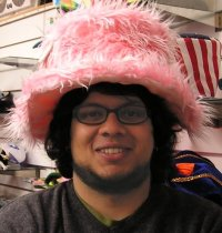 Image of Deepak Saxena in a pink hat - don't ask